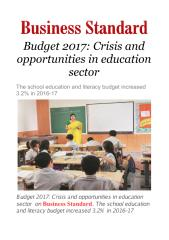 Budget 2017   Crisis and opportunities in education sector.pdf