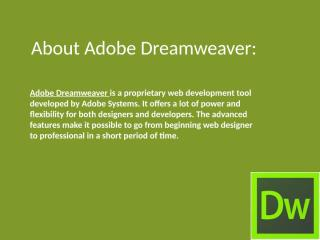 About Adobe Dreamweaver.pptx